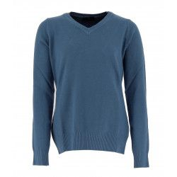 Real Cashmere Pull col V Real Cashmere - IDS1085002-BLEU