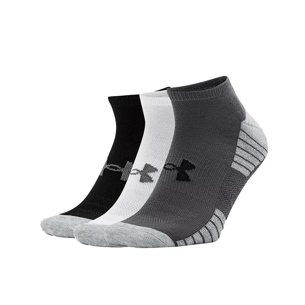 Under Armour HeatGear Tech No Show Amorti Sport Chaussettes 3 Pack Blanc
